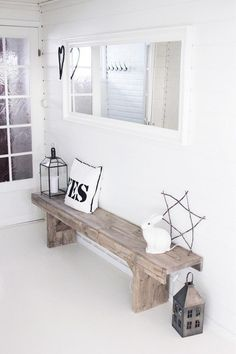 Will totally reason with my husband why i must have this rustic bench for the entryway! Hallway Inspiration, Interior Inspiration, Style At Home, Home And Living, Living Room, Diy Casa, Rustic Bench, Farmhouse Bench, Rustic Wood
