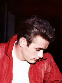 James Dean in his iconic red jacket.