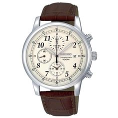 Seiko Men's SNDC31 Classic Brown Leather Beige Chronograph Dial Watch - http://www.specialdaysgift.com/seiko-mens-sndc31-classic-brown-leather-beige-chronograph-dial-watch/