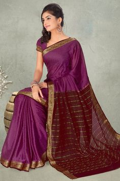 Traditional Printed Festival Saree; Purple Crepe and Jacquard Printed Party and Festival Saree