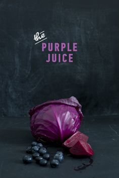 Juicing 3 plums 1/4 small purple cabbage 1 beetroot (beet) 2 sticks of celery 1 orange