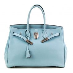 Hermes Ciel Blue Taurillon Clemence 35cm Birkin Bag with Palladium Hardware