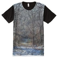 Shop Nature Trail in Winter All-Over Print T-shirt created by Personalize it with photos & text or purchase as is! Stylish Shirts, S Shirt, Trail, Custom Design, Print Design, Cool Outfits, T Shirts For Women, Tomboy, Winter