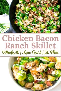 This chicken bacon ranch skillet is a healthy and delicious meal that comes toge. This chicken bacon ranch skillet is a healthy and delicious meal that comes together in 20 minutes. This recipe is compliant, low carb and perfect for meal prep Clean Eating Recipes, Clean Eating Snacks, Healthy Dinner Recipes, Low Carb Recipes, Whole Food Recipes, Diet Recipes, Healthy Eating, Whole 30 Chicken Recipes, Whole30 Bacon Recipes