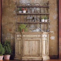 Hooker Furniture Wakefield Three-Door Three-Drawer Distressed Buffet with Decorative Metal Hutch Baker's Rack