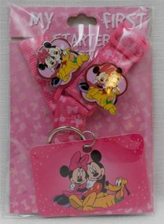 Disney-Theme-Parks-Authentic-My-First-Starter-Pin-Set-Pink-Lanyard-New