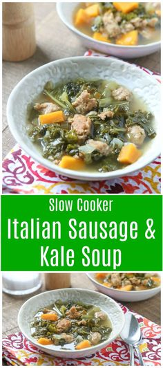 Curry Powder Recipes - Indian Curries and Garam Masala - Steps to Making Different Types of Curries This Italian Sausage And Kale Soup With Sweet Potatoes Is Hearty Yet Perfect For A Light Fall Dinner. Paleo Friendly And Low Carb. Paleo Recipes Easy, Healthy Low Carb Recipes, Chili Recipes, Healthy Dinner Recipes, Chowder Recipes, Soup Recipes, Kale Recipes, Slow Cooker Soup, Slow Cooker Recipes