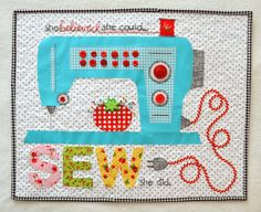 Craft Sew Create: Blogger's Quilt Festival Spring 2014 - Mini Quilt Catergory- sewing machine
