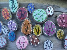 Fun and whimsical beach stone letter magnets by TheSeashoreStore, $10.00