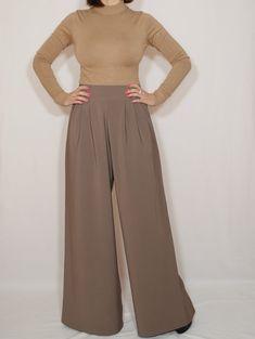 Taupe pants High waist Wide leg trousers Pants with by dresslike