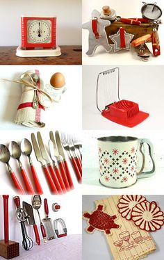 Kitchen Reds Treasury by Vintage Station on Etsy featuring my red kitchen tool collection :)