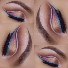gold / #bronze eye with cut crease liner + #blue winged eyeliner | #summer #makeup @imeesitchon