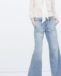 SQUARE POCKET JEANS-Flared-Jeans-WOMAN   ZARA United States