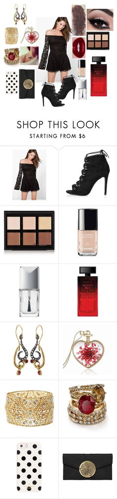 """100"" by mayoooxx ❤ liked on Polyvore featuring Boohoo, Topshop, Anastasia Beverly Hills, Chanel, Christian Dior, Elizabeth Arden, Annie Fensterstock, Charlotte Russe, ABS by Allen Schwartz and Kate Spade"
