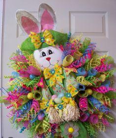 Easter Mesh Wreath,Easter Wreath,Spring Mesh Wreath,Spring Wreath,Bunny Rabbit Easter Wreath,Bunny Wreath by CherylsCrafts1 on Etsy