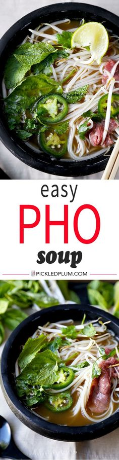 Easy Pho Soup Recipe - Slurp your noodles with abandon in 30 minutes with this Easy Pho Soup Recipe! A quick, satisfying and full-flavor version of Vietnams national dish. Recipe, Vietnamese food, soup, noodle soup, beef soup, dinner, healthy | pickledplum.com