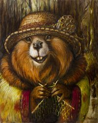 Wild Hare Home, Aunty Winnie Knitting, Canvas Aunty Winnie knittingWhen the dark damp days of late winter feel like they may never end, take a short walk th Fantasy Landscape, Fantasy Art, Caricatures, Animal Heads, Bored Panda, Pet Clothes, Pet Portraits, Cool Art, Illustration Art