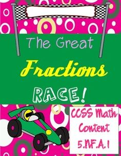 This packet contains 3 pages of great fractions races! The first race involves choosing the Least Common Denominator. The second race is adding and subtracting fractions. The final race is adding and subtracting mixed numbers! Ready, Set, Go!!!