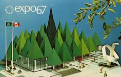 This is the Canadian Pulp and Paper Pavilion. It was formed from 44 stylized tree tops, constructed with tongue and groove Douglas fir plywood panels over a steel frame and painted with various shades of green epoxy paints.