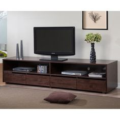 Tessuto Tobacco Finish 59-inch Entertainment Center | Overstock.com Shopping - The Best Deals on Entertainment Centers