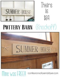 Pottery Barn Inspired Summer House Sign