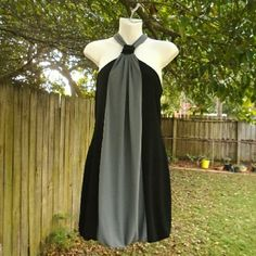 "Halter Dress Black and gray dress with kind of a blouson hem Bust ~ 14"" Length ~ 24"" Polyester & spandex Jodi Kristopher Dresses Strapless"