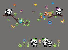 Panda Bear Wall Decal - Panda Bear Nursery Stickers - Safari and Jungle Wall Decals - Wall Decals Pa Wall Stickers Panda, Baby Wall Decals, Kids Room Wall Stickers, Nursery Stickers, Vinyl Wall Decals, Safari Theme Nursery, Baby Nursery Decor, Nursery Themes, Nursery Wall Art