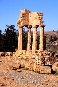 """""""The ruined Temple of Demeter and Persephone, goddesses of the soil and the underworld , in Agrigentos Valley of the Temples"""""""