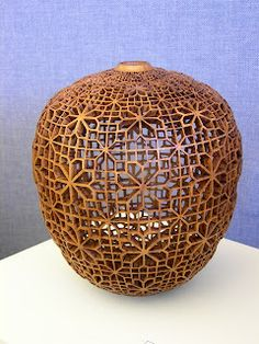 And then day one of the 2007 Utah Woodturning Symposium arrived. The seminar is organized by Kip Christensen and his dedicated team. Transfer Images To Wood, Decorative Gourds, Dragonfly Art, Wood Creations, Gourd Art, Wood Glass, Wooden Bowls, Wood Sculpture, Bottle Crafts