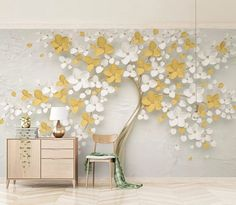 Blooming Flower Wallpaper Mural Decal Mural Photo Sticker Decal Wall Self-Adhesive Wall Art Design printed Removable Wallpaper