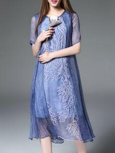 Blue Crew Neck Half Sleeve Paneled A-line Midi Dress