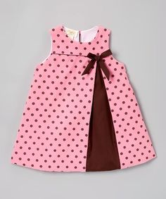 Pink & Brown Polka Dot Bow A-Line Dress - Infant, Toddler & Girls