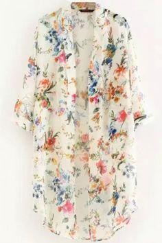 LUCLUC White Floral Printed Chiffon Kimono