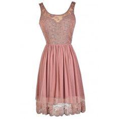 Cute Pink Dress, Dusty Pink Dress, Pink Lace Dress, Pink A-Line Dress, Pink Mesh Dress, Pink Embellished Dress, Pink Party Dress, Pink Summer Dress, Pink Cocktail Dress