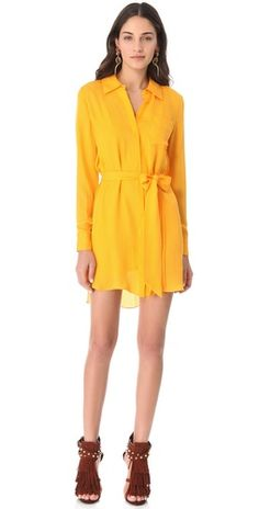 Shirt Dress : yellow Sans the shoes. Belted Dress, Dress Up, Shirt Dress, Party Fashion, Fashion Outfits, Fashion Clothes, Cool Style, My Style, Haute Hippie