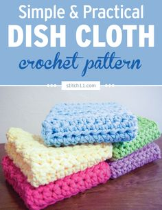 This Simple Crochet Dish Cloth is very easy to make and perfect for cleaning. You can even use it as a washcloth depending on your yarn choice. It's a great scrap buster. If you have a ton of scrap yarn, you can whip a bunch of these in no time. Stash them for future use or make them as practical gifts.