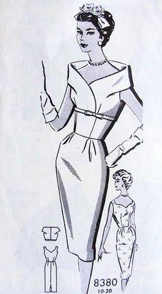 Early 60s Stunning Slim Cocktail Dress and Jacket Pattern Striking Stand Up Portrait Collar Bolero, Sweetheart Neckline Bombshell Wiggle Dress Patt-O-Rama 8380 Vintage Sewing Pattern Bust 34