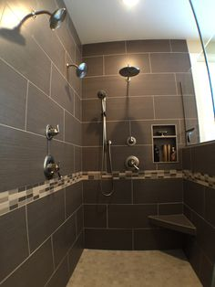 One, two, three, FOUR shower heads in this dreamy shower #remodel!