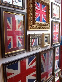 A wall of framed union jacks!You can find Union jack and more on our website.A wall of framed union jacks! Union Jack Decor, British Things, British Gifts, Union Flags, Wonderwall, British Isles, Great Britain, Decoration, Display