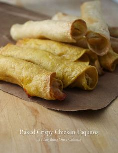 Baked Crispy Chicken Taquitos | www.tryanythingonceculinary.com | Made with corn tortillas, these crispy taquitos will be a game day favorite. | #gameday #appetizer #bakedcrispychickentaquitos