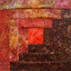 12 Block Log Cabin Quilt Kit INDIAN SUMMER Moda Batik Fabric Pre