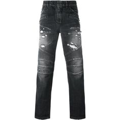 Balmain biker jeans (€1.245) ❤ liked on Polyvore featuring men's fashion, men's clothing, men's jeans, grey, mens gray jeans, mens distressed jeans, mens destroyed jeans, mens bleached jeans and mens ripped jeans