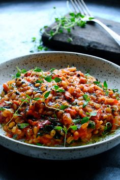 Pearl barley in a risotto