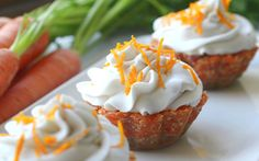 """<p>These raw cupcakes are a burst of fresh, citrusy goodness that is perfect for spring! The """"cupcake"""" is made from sweet, sticky dates, orange, warm spices, coconut, and carrot and they're topped with whipped coconut cream. </p>"""