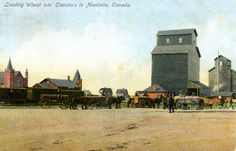 Loading Wheat into Elevators in Manitoba, Canada Saskatchewan Canada, Artworks, Patio, Terrace, Porch, Courtyards, Art