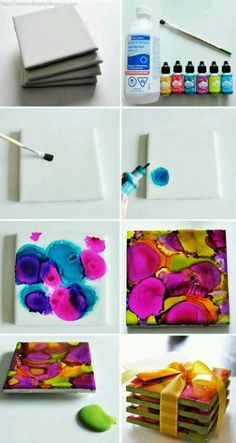 Alcohol Ink Coasters or wall tiles (Note: Seal with Krylon clear coat)