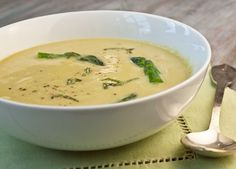 Smooth, mild and gently flavored with lemon and Parmesan, this asparagus soup tastes wonderfully luxurious. No heavy cream is added for a change -- just vegetables, broth and a hint of cheese puréed to silky perfection.  I like to serve it with a crusty bread for lunch or a light dinner, especially right now while asparagus is in peak season and