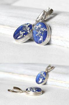 One of a kind earrings blue Sterling silver by KvitkaSonze on Etsy