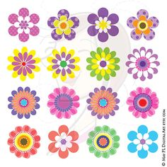 Digital Spring Flowers Clipart Clip Art Floral Scrapbooking Embellishment Supplies Digital Clipart Pink Green Blue Purple Yellow via Etsy. Rock Flowers, Summer Flowers, Colorful Flowers, Paper Flowers, Tall Flowers, Floral Flowers, Purple Flowers, Arte Floral, Mothers Day Flowers