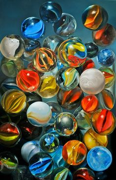 """""""Knikkers, Hyperrealism by artist Tjalf Sparnaay Childhood Toys, Childhood Memories, Tjalf Sparnaay, Realistic Oil Painting, Marble Painting, Painting Abstract, Dutch Artists, Glass Marbles, Retro Toys"""